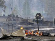 Charred rubble remains after a wildfire decimated the small town of Malden on Sept. 7, 2020, destroying an estimated 70% of homes in the northern Whitman County community, The Spokesman-Review reports.