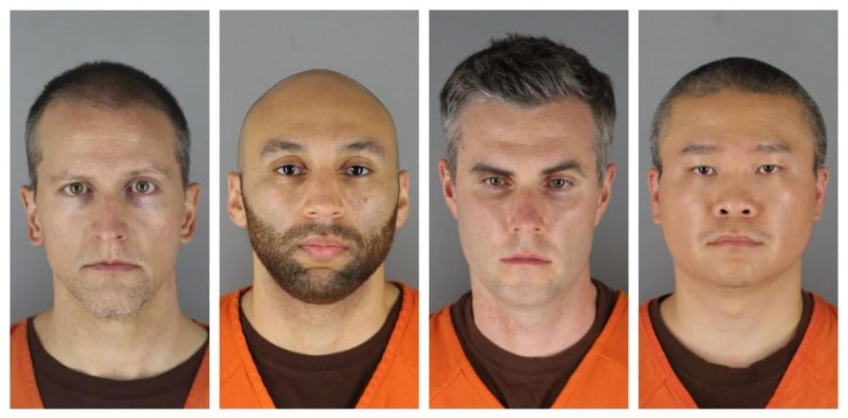 This combination of photos provided by the Hennepin County Sheriff's Office in Minnesota on Wednesday, June 3, 2020, shows Derek Chauvin, from left, J. Alexander Kueng, Thomas Lane and Tou Thao. Chauvin is charged with second-degree murder of George Floyd, a black man who died after being restrained by him and the other Minneapolis police officers on May 25. Kueng, Lane and Thao have been charged with aiding and abetting Chauvin. Minneapolis adopted a policy in 2016 requiring officers to intervene when colleagues are using inappropriate force. Yet three other officers at the scene failed to stop 19-year police veteran Derek Chauvin when he put his knee on Floyd's neck despite Floyd's cries that he couldn't breathe.