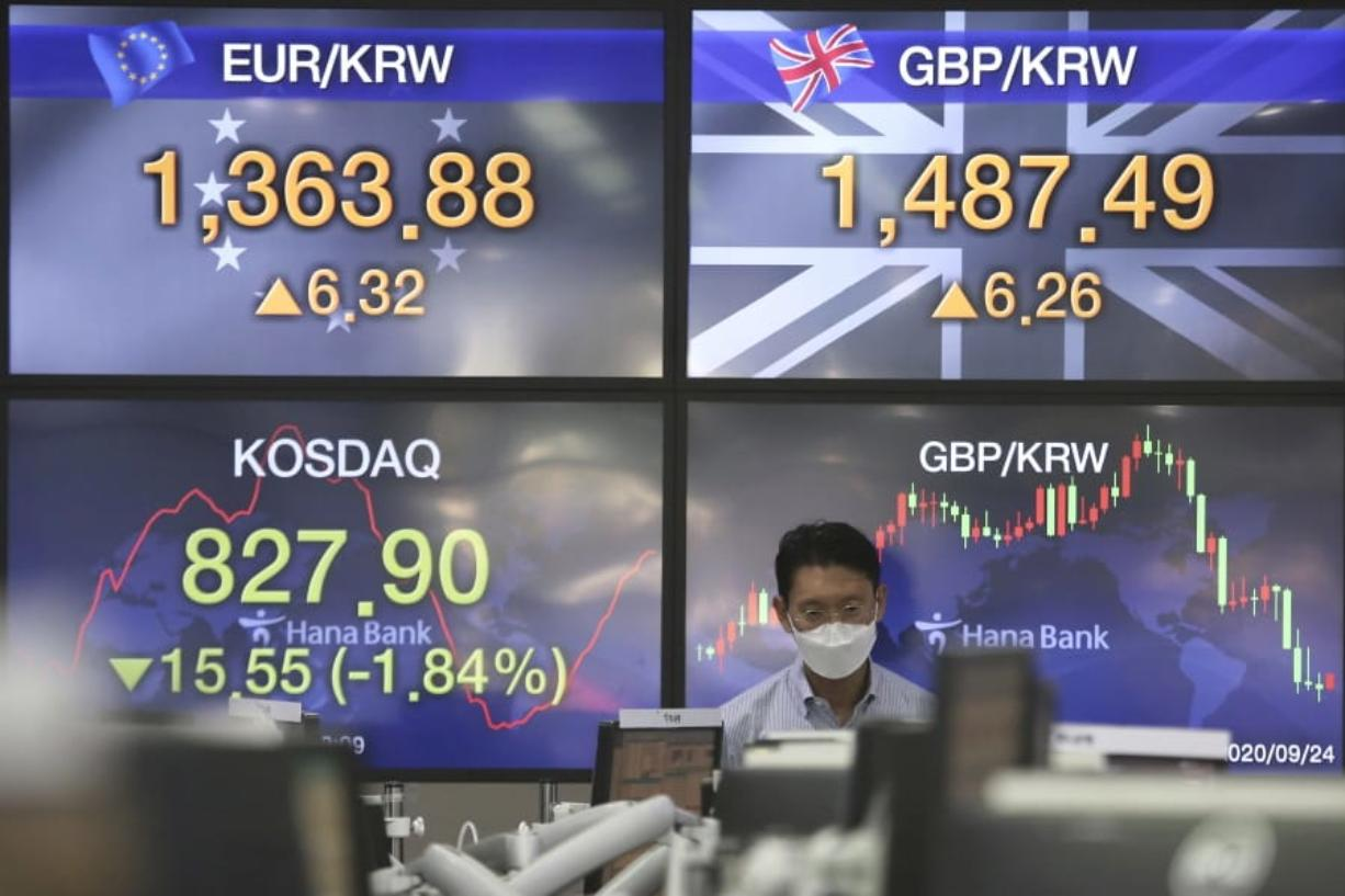 A currency trader watches monitors at the foreign exchange dealing room of the KEB Hana Bank headquarters in Seoul, South Korea, Thursday, Sept. 24, 2020.