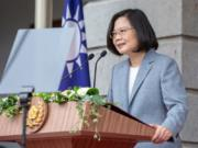 FILE - In this May 20, 2020, file photo released by the Taiwan Presidential Office, Taiwanese President Tsai Ing-wen delivers a speech after her inauguration ceremony at a government guest house in Taipei, Taiwan. U.S. Undersecretary of State Keith Krach is due to meet Tsai and other senior officials, the island's foreign ministry said Thursday, Sept. 17, 2020. Krach is the highest-level official from the State Department to visit the island in decades. Keith is due to arrive in Taiwan on Thursday afternoon to begin a three-day visit that has already drawn a warning from China.