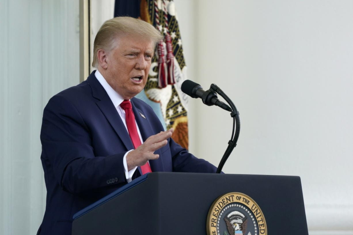 President Donald Trump speaks during a news conference on the North Portico of the White House, Monday, Sept. 7, 2020, in Washington.