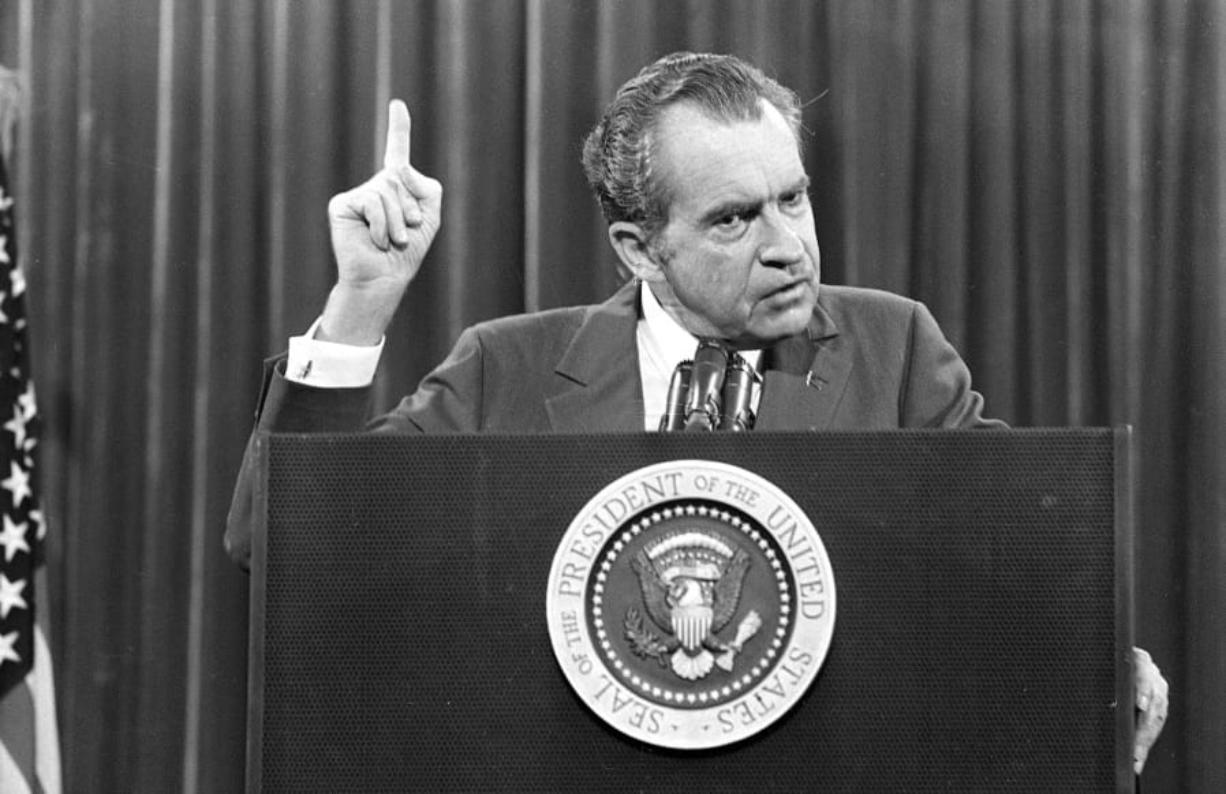 """FILE - In this Nov. 17, 1973 file photo, President Richard Nixon speaks near Orlando, Fla. to the Associated Press Managing Editors annual meeting. Nixon told the APME """"I am not a crook."""" There were two men in 1980s Manhattan who craved validation -- one a past president, one a future president. That's how a thirty-something Donald Trump and a seventy-ish Richard Nixon struck up a decade-long correspondence in the 1980s that meandered from football and real estate to Vietnam and media strategy. Their letters are being revealed for the first time in an exhibit that opens Thursday at the Richard Nixon Presidential Library & Museum."""