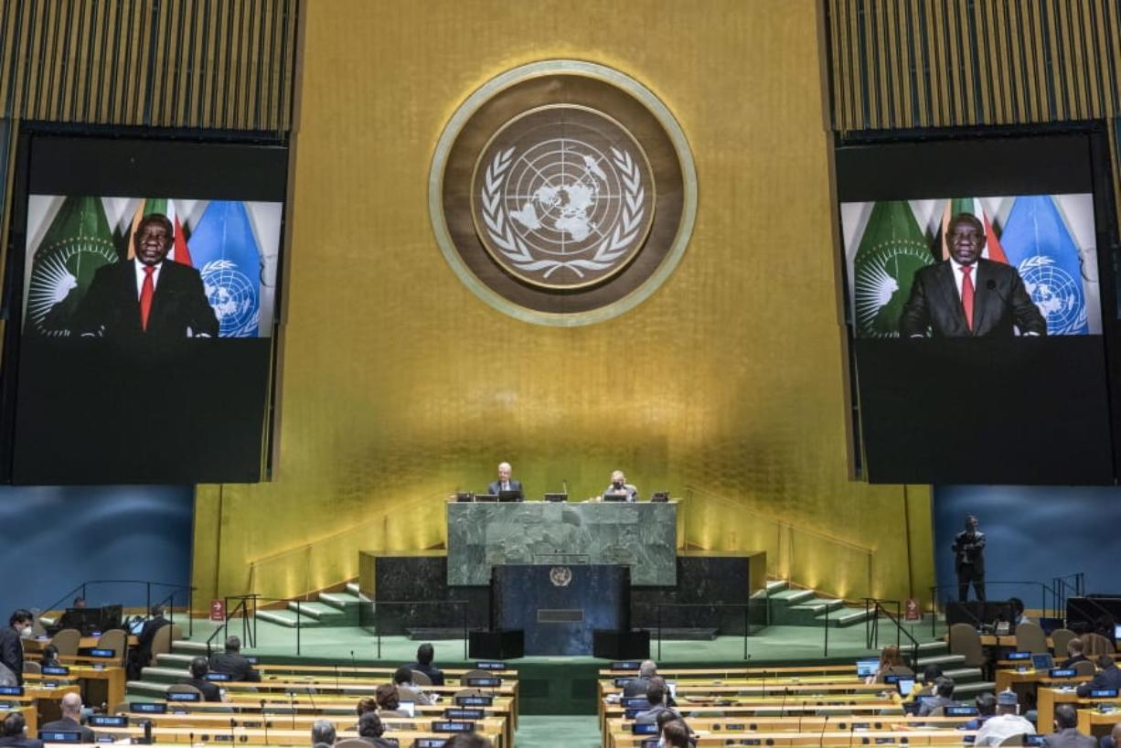 In this photo provided by the United Nations, South African President Cyril Ramaphosa speaks in a pre-recorded message played during the 75th session of the United Nations General Assembly, Tuesday, Sept. 22, 2020, at U.N. headquarters in New York. The U.N.'s first virtual meeting of world leaders started Tuesday with pre-recorded speeches from some of the planet's biggest powers, kept at home by the coronavirus pandemic that will likely be a dominant theme at their video gathering this year.