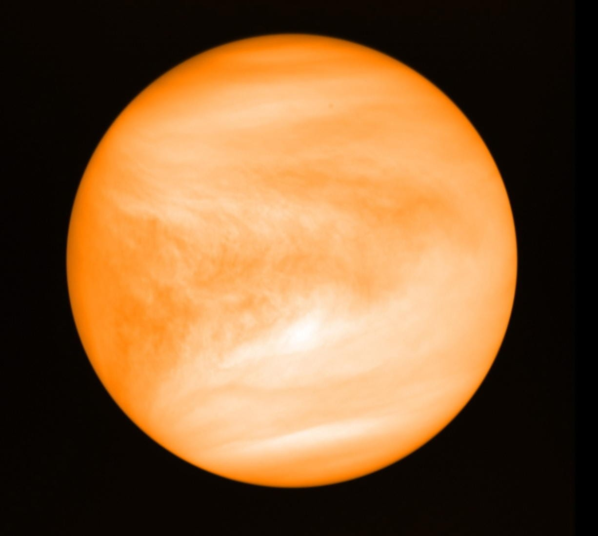 This May 2016 photo provided by researcher Jane Greaves shows the planet Venus, seen from the Japan Aerospace Exploration Agency's Akatsuki probe. A report released on Monday, Sept. 14, 2020 says astronomers have found a potential signal of life high in the atmosphere of our nearest neighboring planet. (J.
