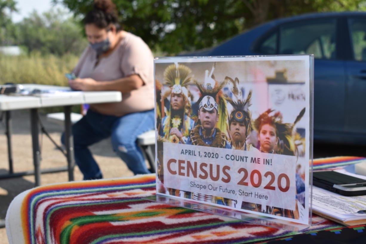 A sign promoting Native American participation in the U.S. census is displayed as Selena Rides Horse enters information into her phone on behalf of a member of the Crow Indian Tribe in Lodge Grass, Mont. on Wednesday, Aug. 26, 2020. There are more than 300 Native American reservations across the country, and almost all lag the rest of the country in participation in the census.
