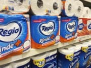 This Sept. 4, 2020, photo, shows Regio, a Mexican toilet paper brand, on the shelf at a CVS in New York. Demand for toilet paper has been so high during the pandemic that in order to keep their shelves stocked, retailers across the country are buying up foreign toilet paper brands, mostly from Mexico.