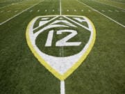 The Pac-12 logo at Autzen Stadium in Eugene, Ore.