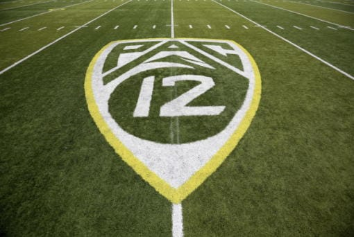 The Pac-12 logo at Autzen Stadium in Eugene, Ore. (AP Photo/Ryan Kang, File)