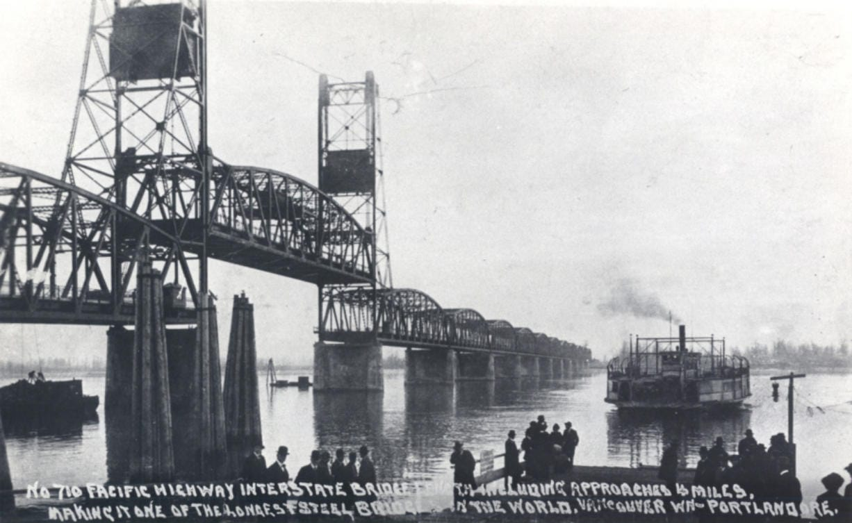 In 1917, Vancouver's population was 12,000. But on the Valentine's Day grand opening of the Interstate Bridge, it quadrupled with people from Vancouver and Portland celebrating the new span over the Columbia River. In his autobiography, Emil Fries, founder of the Piano Hospital, recounts that while he was attending the Washington State School for the Blind, a teacher walked him and others downtown to join in the festivities.