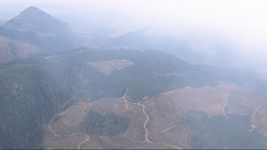 A view from a KPTV helicopter shows smoke intruding into the Chelatchie area of north Clark County on Thursday from the Big Hollow Fire in the Gifford Pinchot National Forest. Tumtum Mountain can be seen at left.