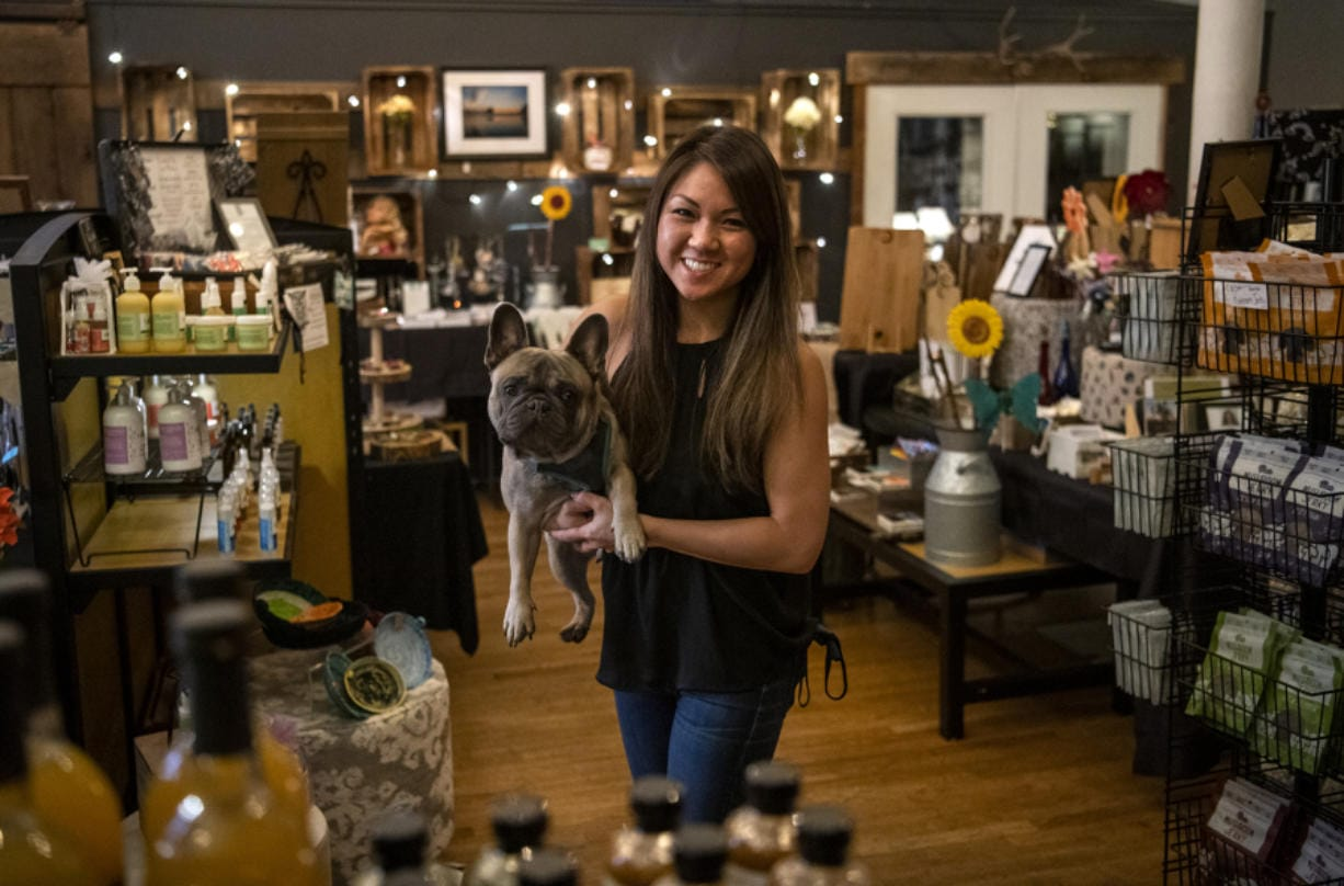 Jessica Chan, pictured with her dog Sumo, is the founder of NMV Pop-Local. It showcases a variety of mostly locally made products, such as clothes, soaps, jewelry, artwork and baked goods.