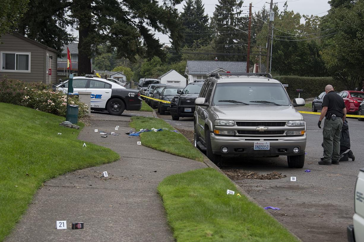 Officials investigate after a domestic violence investigation resulted in a non-fatal police shooting in Vancouver's Rose Village neighborhood on Monday morning, Oct. 5, 2020.