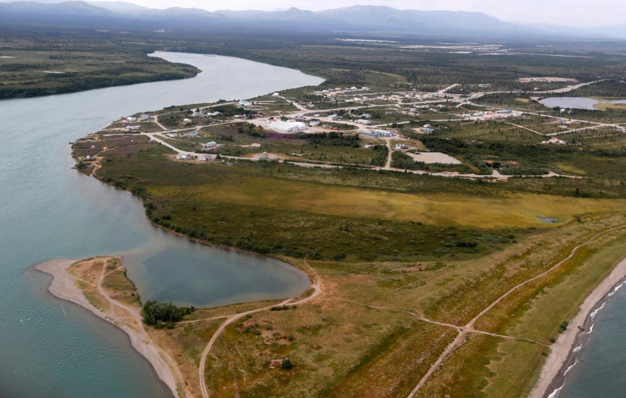 The Newhalen River flows into Lake Iliamna in Newhalen, Alaska, a native fishing village located near the site of the proposed Pebble Mine on July 23, 2019.