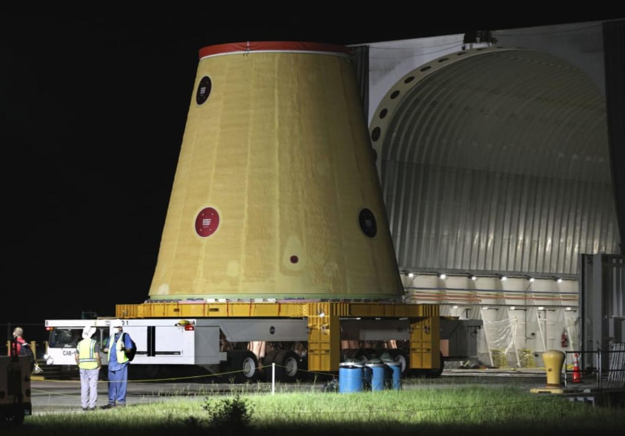 A Launch Vehicle Stage Adapter for the Artemis-1 mission is unloaded from a barge at Cape Canaveral Air Force Station in Florida on July 30.