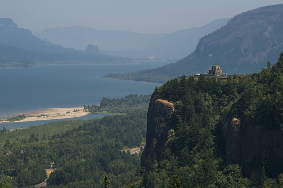 Vista House in Oregon overlooks the Columbia River Gorge.