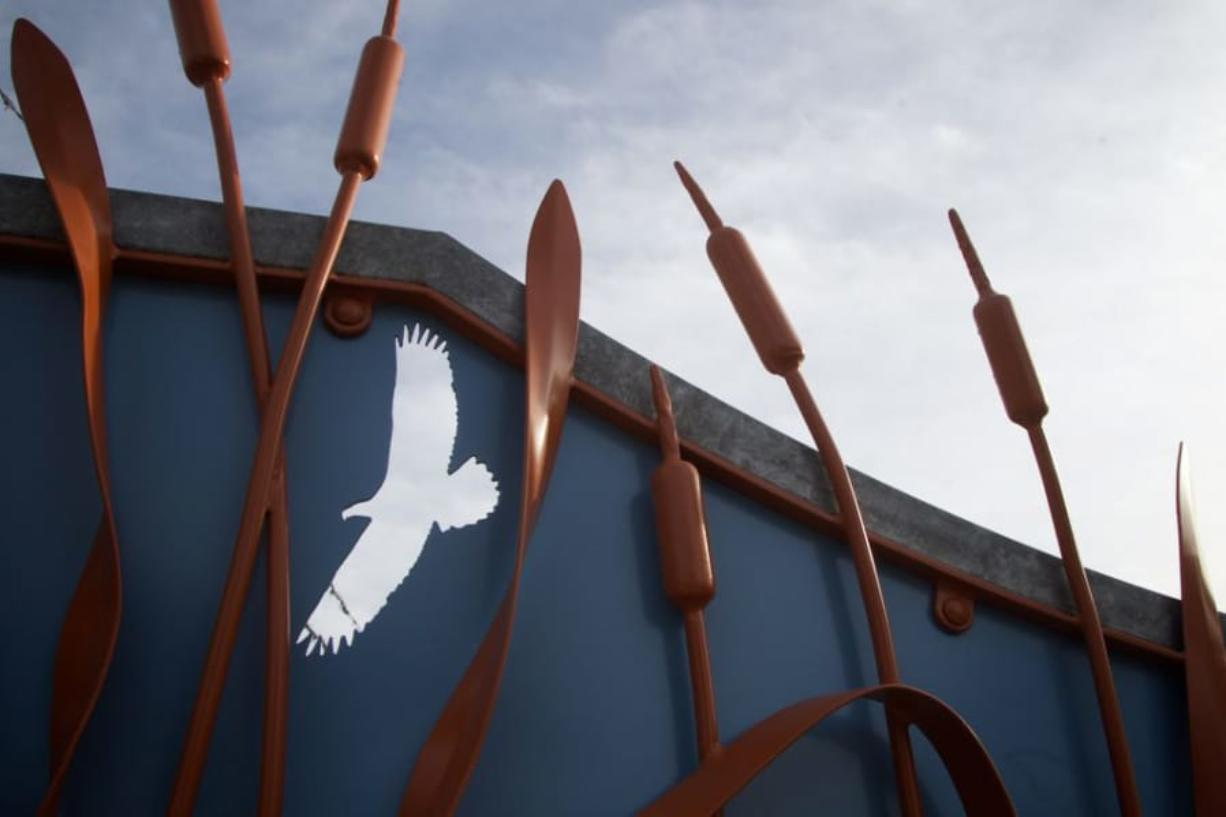 This piece of art is called Stewards' Gateway by Tim Gabriel at the Jackson Bottom Wetlands Preserve.