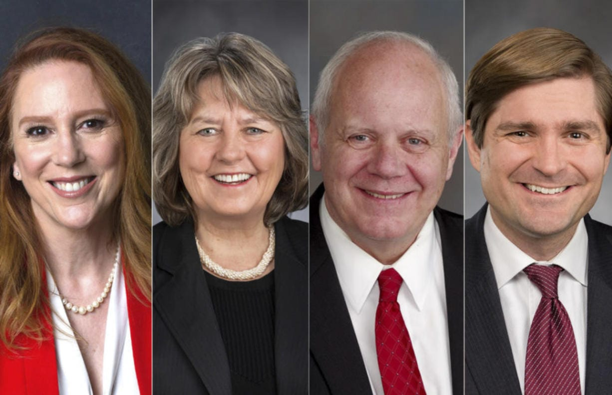 From left: Kim Wyman, Washington's Republican incumbent secretary of state; state Rep. Gael Tarleton, D-Seattle, who is challenging Wyman; state Treasurer Duane Davidson, a Republican; and state Rep. Mike Pellicciotti, D-Federal Way, who is challenging Davidson. (Photos provided by the candidates' campaigns.