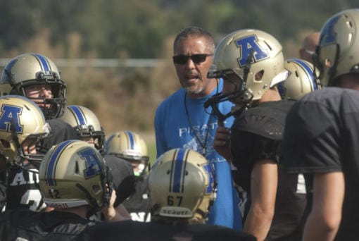 Adna football coach KC Johnson talks to his team during a preseason scrimmage in 2015. Johnson was a senior quarterback at Toledo High in 1983, when Toledo and Ridgefield played seven overtimes to set a state record. (The Chronicle (Centralia, Wash.)