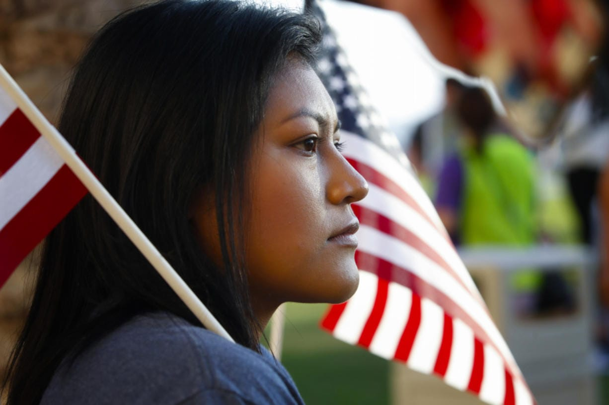 Vianey Martinez from Normal Heights, a recipient of DACA, at a 2017 rally. (Nelvin C.