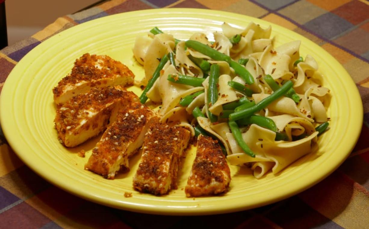 Smoked Paprika Chicken with Caraway Noodles.