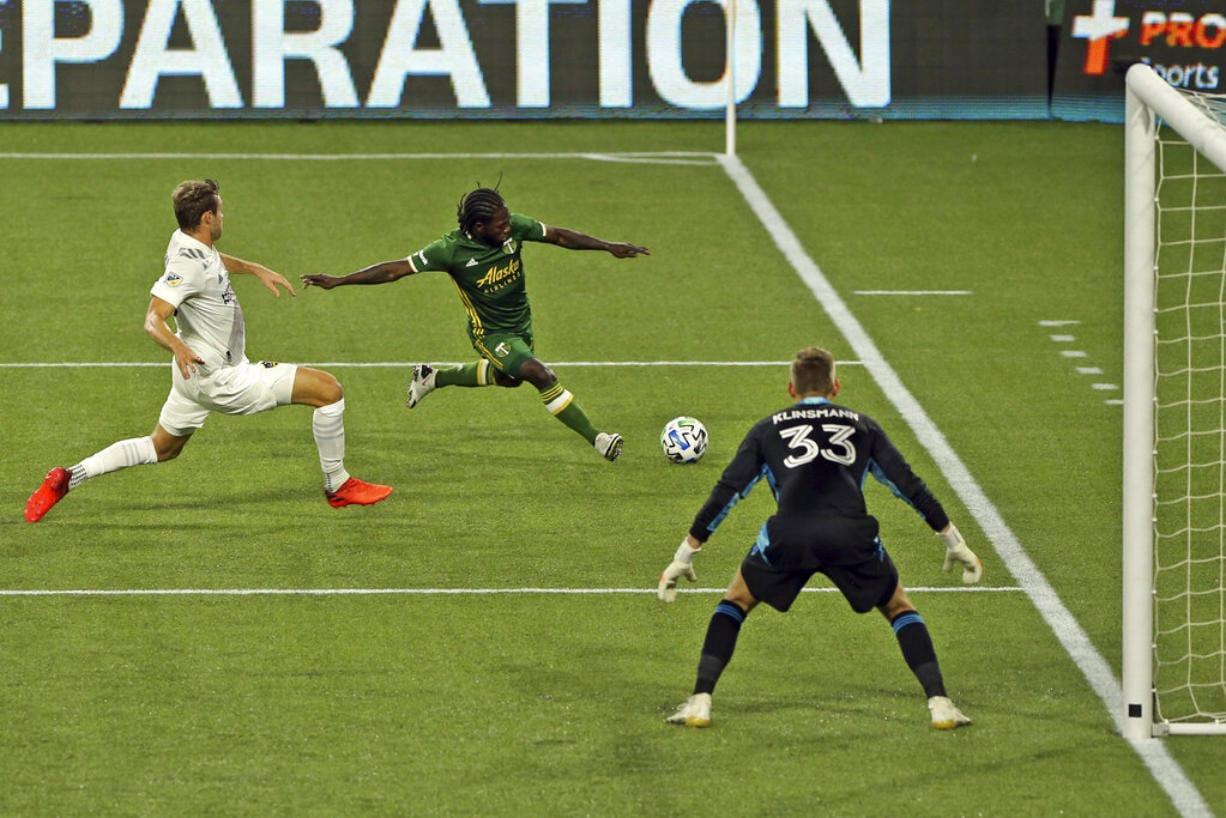 Portland Timbers' Yimmi Chara chases down the ball during the first half of the team's MLS soccer match against the LA Galaxy on Wednesday, Oct. 28, 2020, in Portland, Ore.