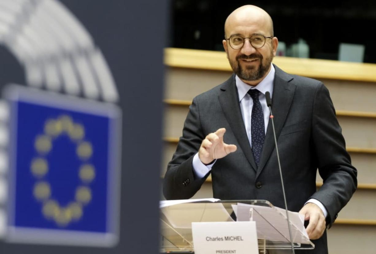 European Council President Charles Michel addresses the chamber on a report of last weeks EU summit during a plenary session at the European Parliament in Brussels, Wednesday, Oct. 21, 2020.