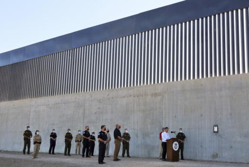 Acting Homeland Secretary Chad Wolf gives a speech in front of a new section of the border wall Thursday, Oct. 29, 2020, in McAllen, Texas.