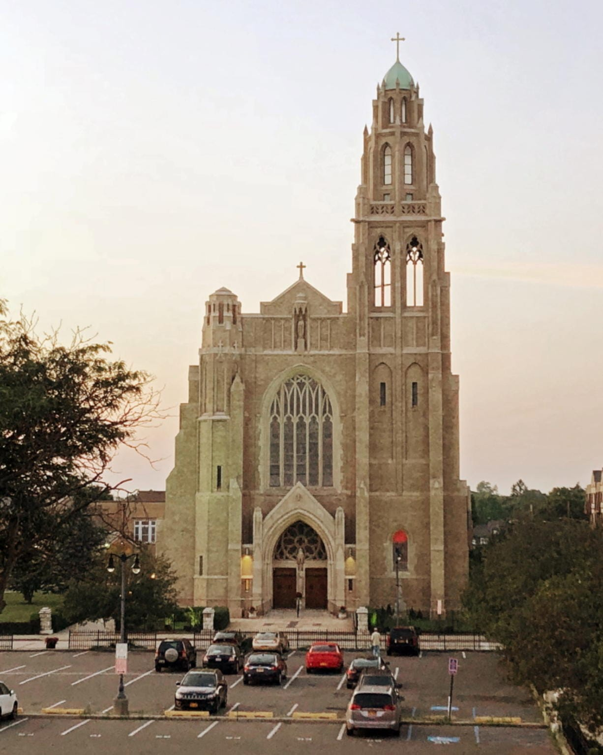 This July 1, 2018 photo shows St. Agnes Cathedral, seat of the Diocese of Rockville Centre, on New York's Long Island. New York's Roman Catholic Diocese of Rockville Centre, the largest in the U.S., has filed for Chapter 11 bankruptcy protection because of financial pressure from lawsuits over past sexual abuse by clergy members. (AP Photo/Michael R.