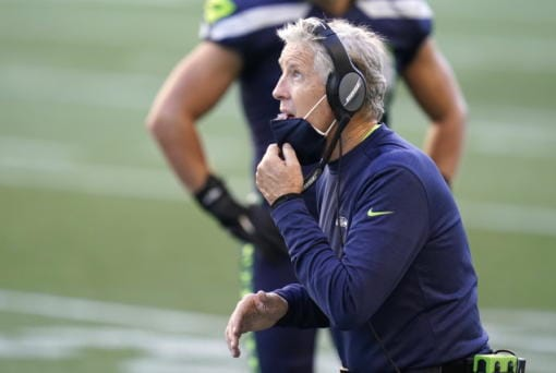 Seattle Seahawks head coach Pete Carroll reacts on the sidelines during the second half of an NFL football game against the Dallas Cowboys, Sunday, Sept. 27, 2020, in Seattle.