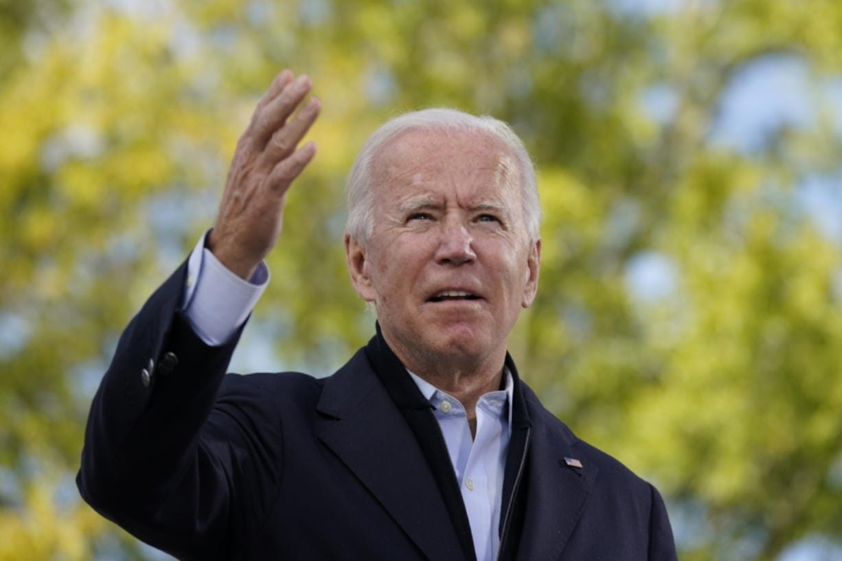 Democratic presidential candidate former Vice President Joe Biden speaks during a campaign event at Riverside High School in Durham, N.C., Sunday, Oct. 18, 2020.
