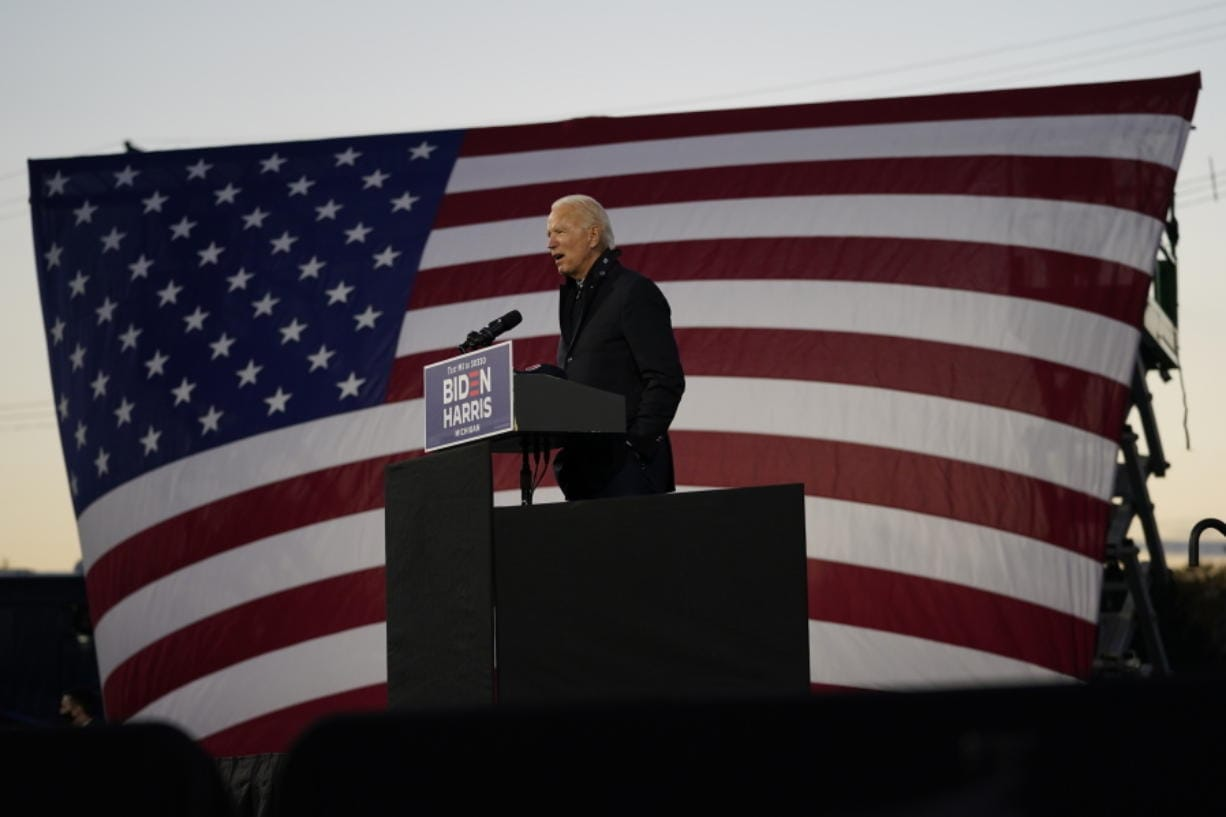 Democratic presidential candidate former Vice President Joe Biden speaks at Michigan State Fairgrounds on Friday in Novi, Mich.