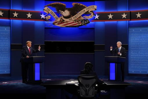 President Donald Trump, left, and Democratic presidential candidate former Vice President Joe Biden during the second and final presidential debate Thursday, Oct. 22, 2020, at Belmont University in Nashville, Tenn.
