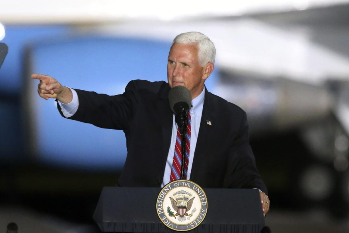 Vice President Mike Pence speaks to supporters Saturday Oct. 24, 2020 in Tallahassee, Fla. Battleground Florida was again a central focus of the presidential campaign Saturday as President Donald Trump, Vice President Mike Pence and former President Barack Obama all had high-profile events in the state.