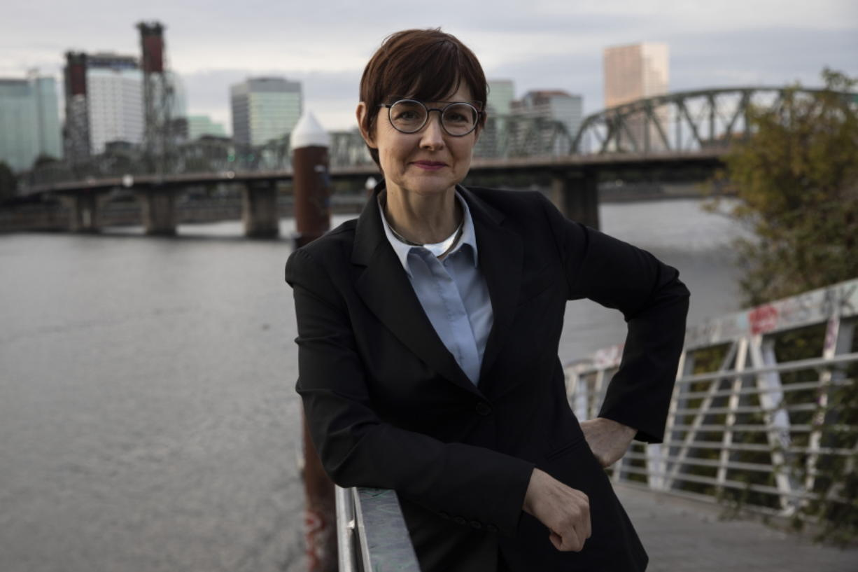 Portland, Oregon, mayoral candidate Sarah Iannarone poses in Portland, Friday, Oct. 9, 2020. With Election Day weeks away, Portland Mayor Ted Wheeler is trailing in the polls behind Iannarone.