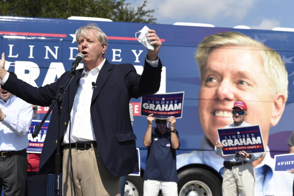 Republican U.S. Sen. Lindsey Graham of South Carolina speaks to supporters at a get-out-the-vote rally on Friday, Oct. 16, 2020, in North Charleston, S.C.