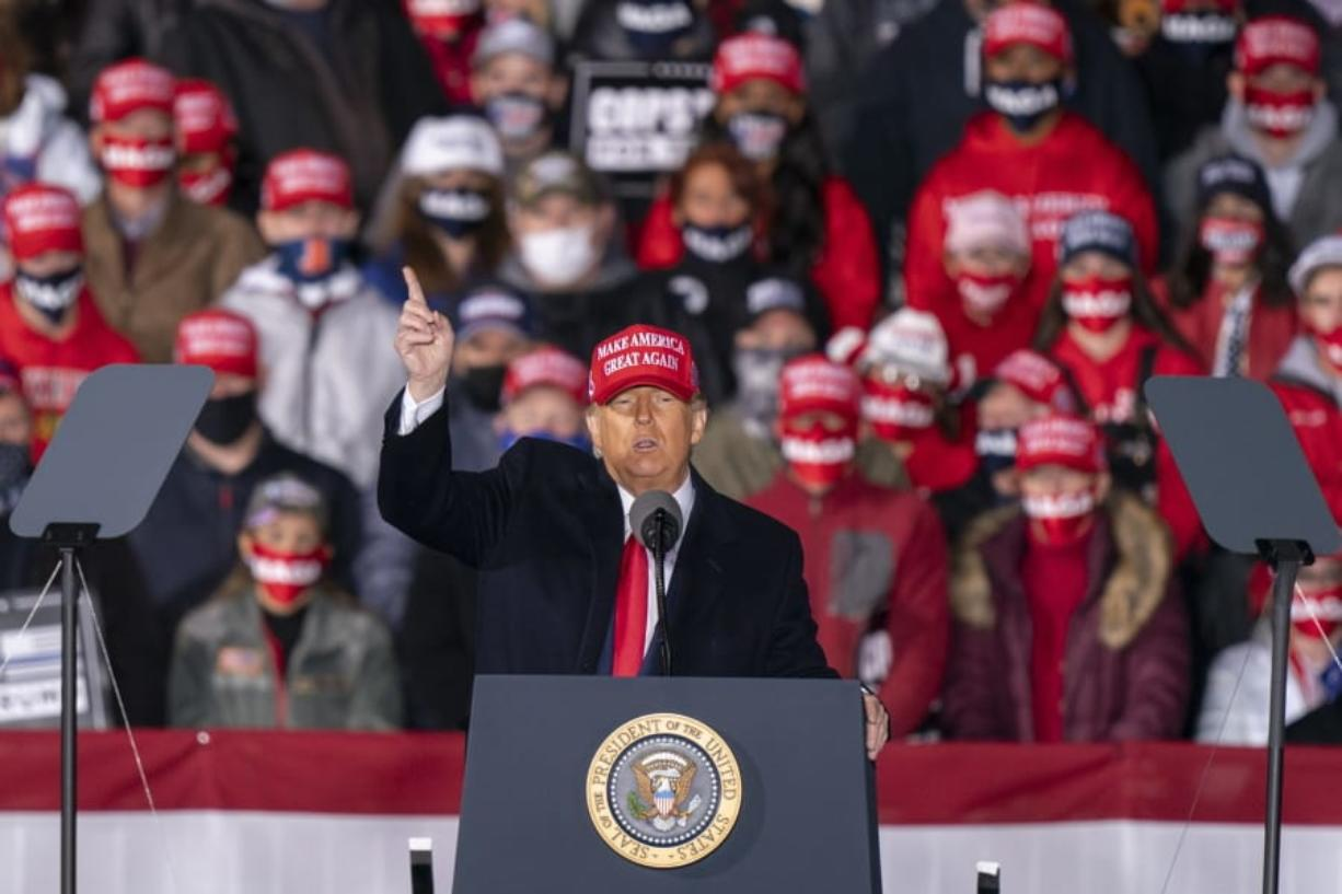 President Donald Trump speaks during a campaign rally at Southern Wisconsin Regional Airport, Saturday, Oct. 17, 2020, in Janesville, Wis.