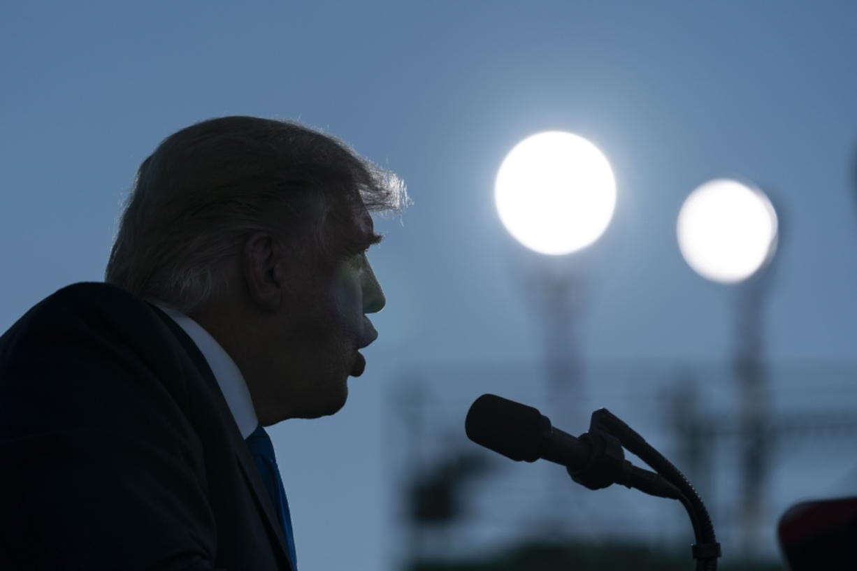 President Donald Trump speaks at a campaign rally at Carson City Airport, Sunday, Oct. 18, 2020, in Carson City, Nev.