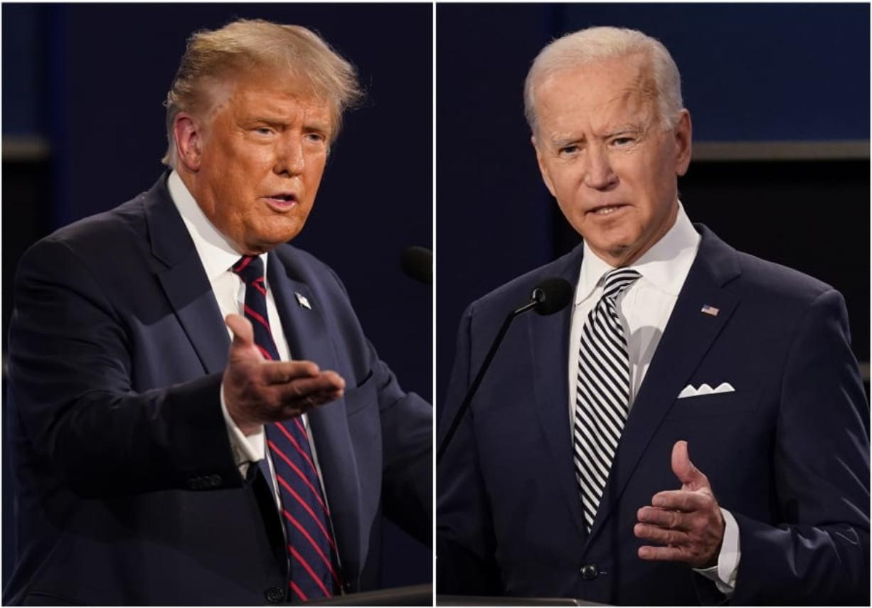 FILE - This combination of Sept. 29, 2020,  file photos shows President Donald Trump, left, and former Vice President Joe Biden during the first presidential debate at Case Western University and Cleveland Clinic, in Cleveland, Ohio. Amid the tumult of the 2020 presidential campaign, one dynamic has remained constant: The Nov. 3 election offers voters a choice between substantially different policy paths.