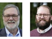U.S. Rep. Denny Heck, D-Wash., left, and Washington Sen. Marko Liias, D-Lynnwood, right, are shown in this combination of photos taken Oct. 7, 2020 in Olympia, Wash., and Oct. 19, 2020 in Lynnwood, Wash.  (AP Photos/Ted S.