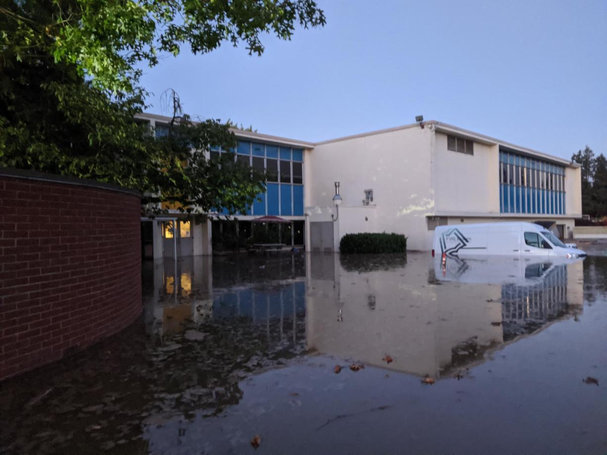 The Fort Vancouver Regional Libraries Operations Center in Vancouver was flooded after a water main broke on Saturday evening.