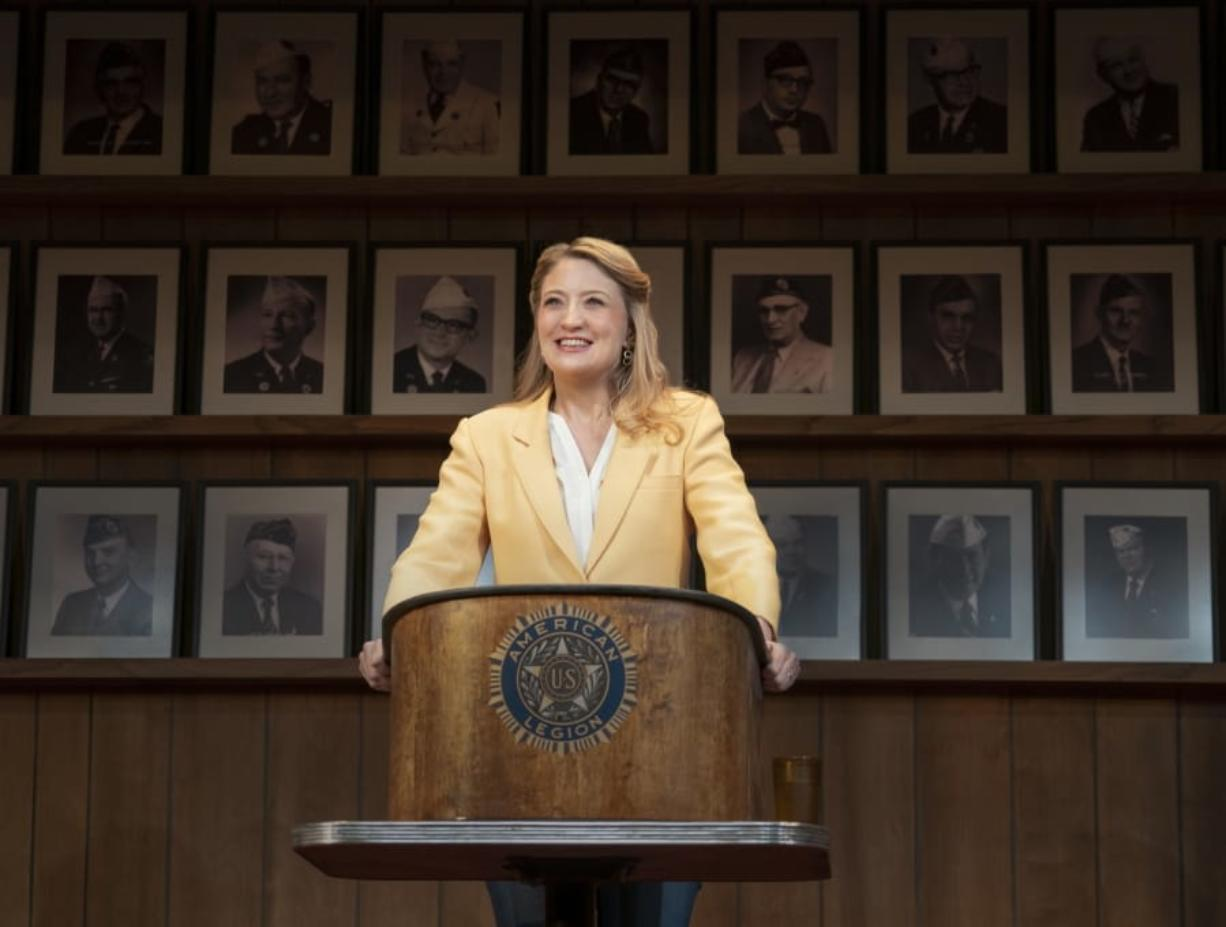 """Heidi Schreck in a scene from """"What the Constitution Means to Me,"""" which draws on Schreck's experiences as a high-school debate champ and the lives of her female relatives to explore America's principles and the struggle women and minorities have faced to be heard and protected by its founding document."""