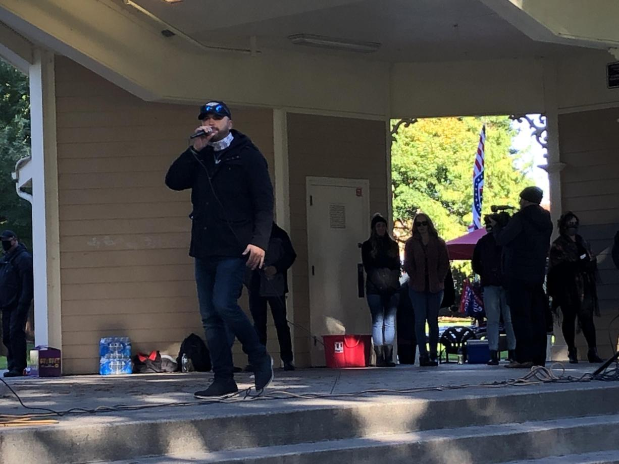 Patriot Prayer founder Joey Gibson speaks at a pro-free speech rally Sunday at Esther Short Park in Vancouver.