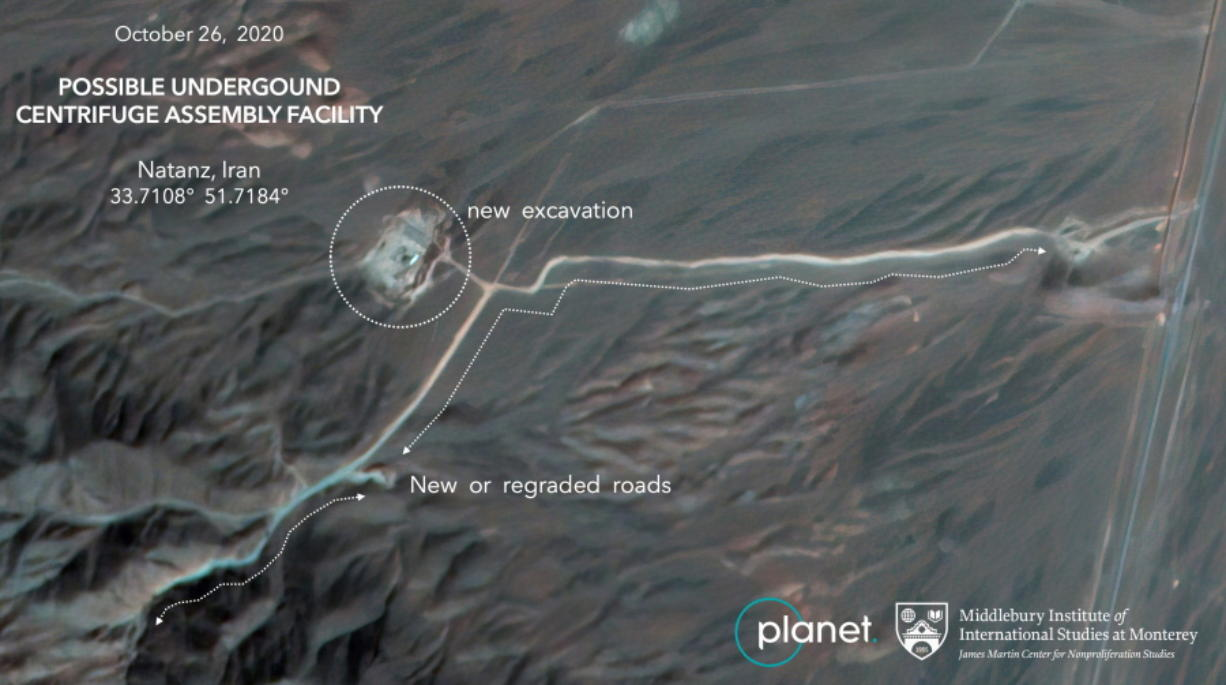 This Monday, Oct. 26, 2020, satellite image from Planet Labs Inc. that has been annotated by experts at the James Martin Center for Nonproliferation Studies at Middlebury Institute of International Studies shows construction at Iran's Natanz uranium-enrichment facility that experts believe may be a new, underground centrifuge assembly plant. Satellite photos show Iran has begun construction at its Natanz nuclear facility. That's after the head of the U.N.'s nuclear agency acknowledged Tehran is building an underground advanced centrifuge assembly plant after its last one exploded in a reported sabotage attack last summer. (Planet Labs Inc.