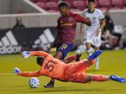 Portland Timbers goalkeeper Aljaz Ivacic (31) makes a save against Real Salt Lake in the first half of an MLS soccer match Wednesday, Oct. 14, 2020, in Sandy, Utah.