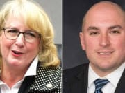 Incumbent Pat McCarthy, left, and challenger Chris Leyba are running for Washington auditor.