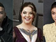 This combination photo shows, from left, singers  Kane Brown, Ashley McBryde and actress Sarah Hyland who will host this year's CMT Music Awards airing on CMT, MTV, MTV2, Logo, Paramount Network, Pop and TV Land.