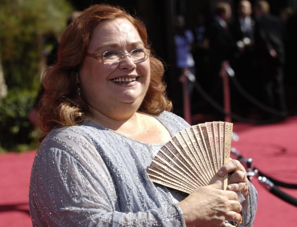 """FILE - Conchata Ferrell arrives at the 59th Primetime Emmy Awards on Sept. 16, 2007, in Los Angeles. Ferrell, who became known for her role as Berta the housekeeper on TV's """"Two and a Half Men,"""" has died. Ferrell was 77. A publicist says the actor died in the Sherman Oaks neighborhood of Los Angeles following cardiac arrest, with her family at her side."""