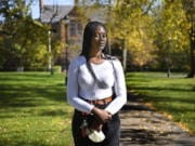 Alphina Kamara at Wesleyan University, Saturday, Oct. 17, 2020, in Middletown, Conn. Kamara, a junior at Wesleyan University studying English and sociology, says she was never encouraged to explore options like an engineering course while in high school.
