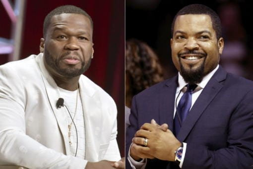 """Curtis """"50 Cent"""" Jackson participates in the Starz """"Power"""" panel at the Television Critics Association Summer Press Tour in Beverly Hills, Calif., on July 26, 2019, left, and BIG3 League founder Ice Cube at the debut of the BIG3 Basketball League in New York on June 25, 2017. An altered photo of the rappers in hats that appear to show support for President Donald Trump circulated widely on social media Tuesday, fueled in part by a tweet by Eric Trump. The manipulated image was shared thousands of times on Twitter and Facebook since it began gaining attention on Monday."""