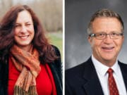 Challenger Donna Sinclair, left, and Rep. Larry Hoff, candidates for 18th Legislative District, Position 2.